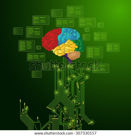 Technological vector background with a circuit board and brain - stock vector