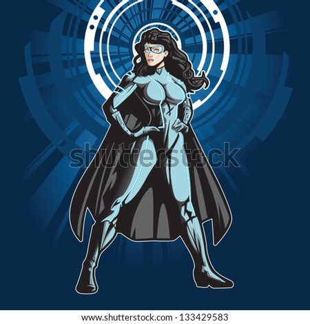 Technologically advanced looking female superhero in a cyber environment. - stock vector