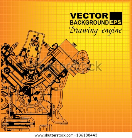 Technology abstract background. Drawing engine. Vector. - stock vector