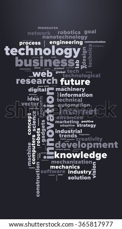 TECHNOLOGY and INNOVATION word cloud, business concept. Tag cloud, advertising and promotion concept. Vector graphics illustration. - stock vector