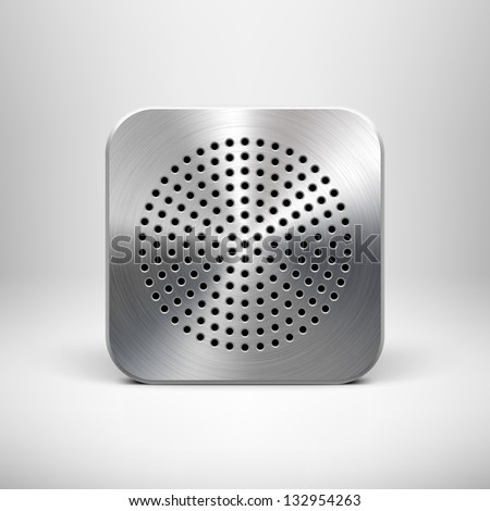 Technology app icon (button) blank template with circle perforated speaker grill metal texture (pattern), realistic shadow and light background for web user interfaces (UI) and applications (apps). - stock vector