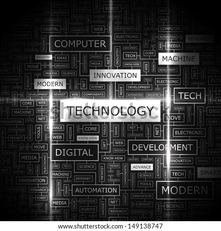 TECHNOLOGY. Background concept wordcloud illustration. Print concept word cloud. Graphic collage with related tags and terms. Vector illustration.  - stock vector