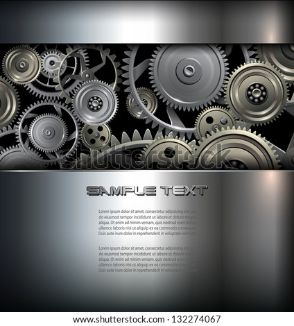 Technology background metallic gears and cogwheels, vector. - stock vector