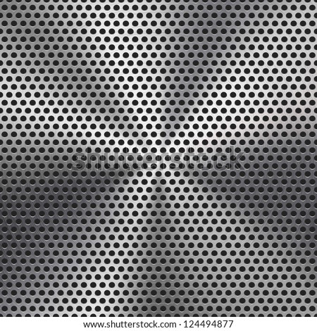 Technology background with seamless circle perforated metal (chrome, iron, stainless steel, silver) grill texture  for internet sites, web user interfaces (ui) and applications (apps). Vector Pattern. - stock vector