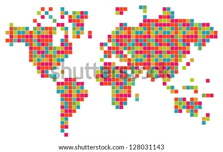 Technology bits world map shape. Vector file layered for easy manipulation and custom coloring. - stock vector
