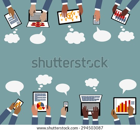 Technology Business Collaboration Multi Racial hands with Devices - Grouped and layered EPS10  - stock vector