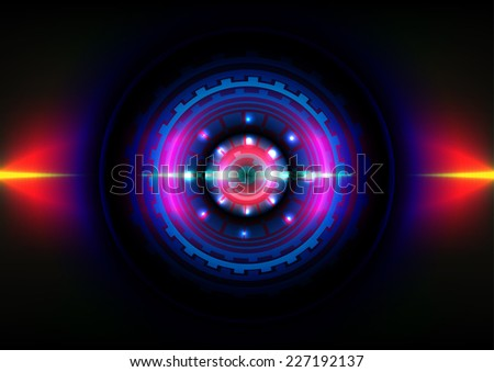 technology circle effect light abstract background - stock vector