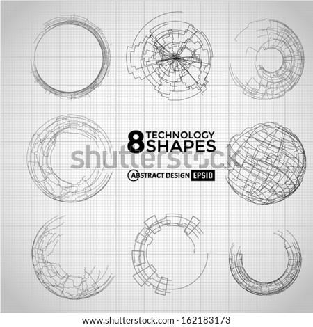 Technology circle shapes. Vector eps10 - stock vector