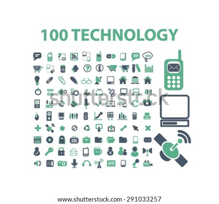 technology, communication, connection isolated icons, signs, illustrations on white background for website, internet, mobile application, vector - stock vector