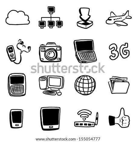 technology, communication objects or icons set / 16 objects, cartoon vector and illustration, hand drawn, sketch style, isolated on white background. - stock vector