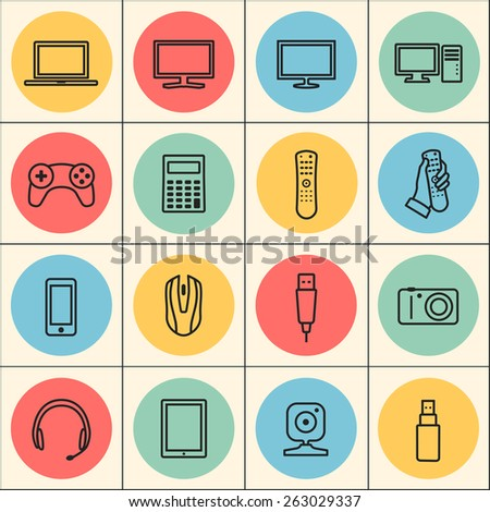 technology, computer, electronic device, tv and media web linear icons set. template elements for web and mobile applications - stock vector