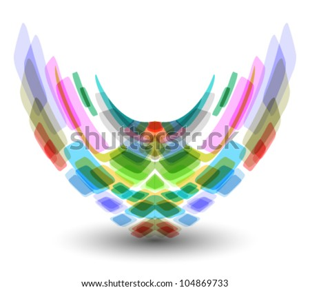 technology concept abstract shape & icon illustration, logo - stock vector