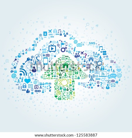Technology concept of cloud computing - stock vector