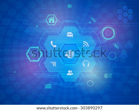 Technology concept with various web icons on shiny blue hi-tech background. - stock vector