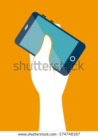 technology design over  orange background vector illustration - stock vector