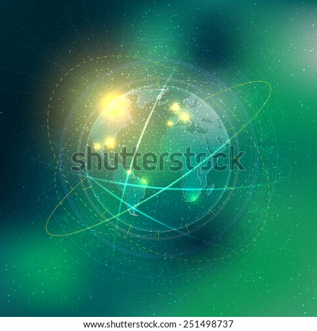 Technology elements with Earth and stars - stock vector