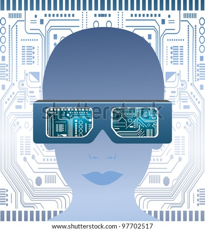Technology glasses and  circuit board - stock vector