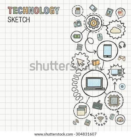 Technology hand draw integrate icons set on paper. Colorful vector sketch infographic illustration. Connected doodle pictograms: internet, digital, market, media, computer, network interactive concept - stock vector