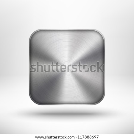 Technology icon (button) with metal texture (stainless steel, chrome, silver), realistic shadow and light background for internet sites, web user interfaces (ui) and applications (app). Vector. - stock vector