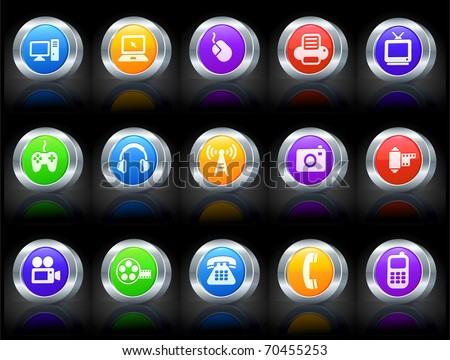 Technology Icon on Button with Metallic Rim Collection Original Illustration - stock vector