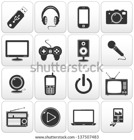 Technology icon on square black and white button collection - stock vector