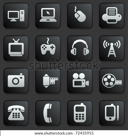 Technology Icon on Square Black and White Button Collection Original Illustration - stock vector