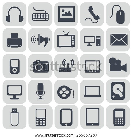 Technology icons on grey background. - stock vector