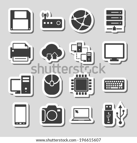 Technology Icons Set as Labels whith shadow - stock vector