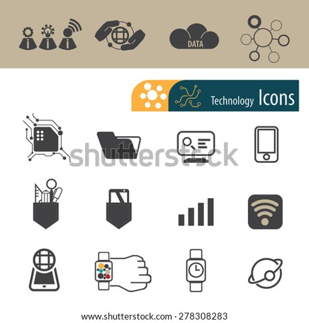 Technology icons set,Vector - stock vector
