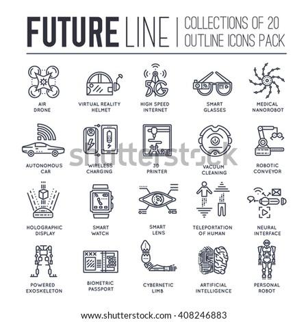 Technology icons. Technology set. Technology pack. Technology jpg. Technology vector. Technology eps. Future technology. Technology label.  Technology logo.  Technology thin line. Technology outline - stock vector