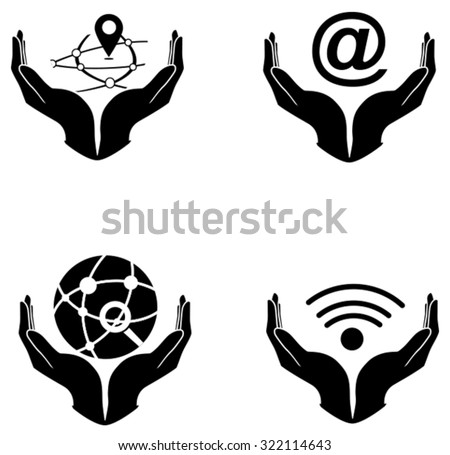 technology in your hand icons vector design - stock vector