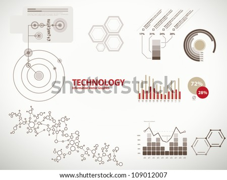 Technology infographics, charts, and diagrams for business reports and designs - stock vector