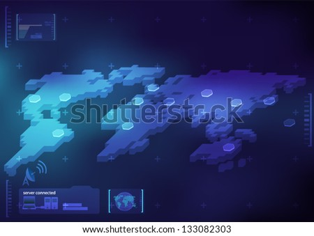 technology interface map - stock vector