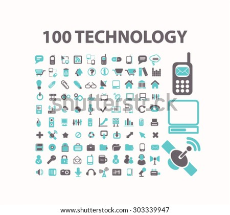 technology, internet, communication, connection flat isolated icons, signs, illustrations set, vector - stock vector