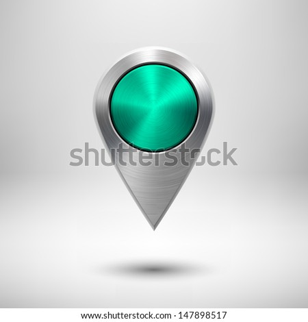 Technology map pointer (button, badge) template with green metal texture (chrome, silver, steel), realistic shadow and light background for user interfaces (UI), applications (apps) and presentations. - stock vector