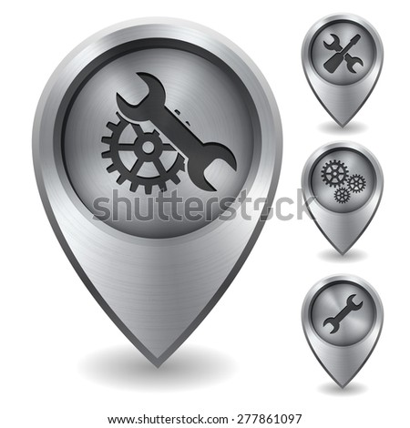 Technology map pointer with metal texture, vector illustration - stock vector