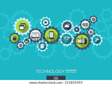 Technology mechanism concept. Abstract background with integrated gears and icons for digital, internet, network, connect, social media and global concepts. Vector infograph illustration. Flat design - stock vector