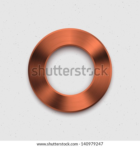 Technology music button (volume knob) with bronze metal texture (steel, chrome, silver, copper), shadow and light background for user interfaces (UI), applications (apps) and business presentations. - stock vector