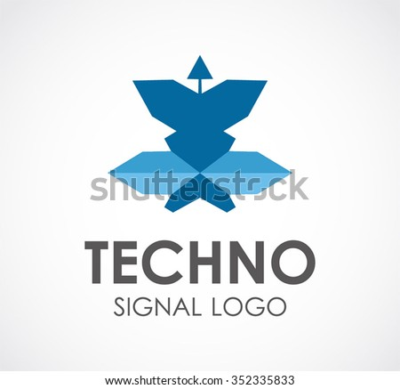 Technology of broadcasting satellite abstract vector and logo design or template digital communication business icon of company identity symbol concept - stock vector