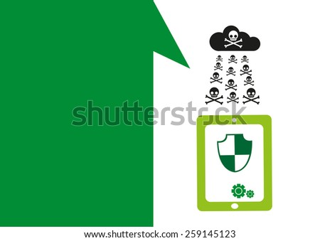 Technology placeholder with themes about handheld device features Set 2. Antivirus Protection Theme. Editable EPS10 Vector  and jpg Illustration ideal as advertising and promotional template.  - stock vector