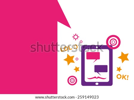 Technology placeholder with themes about handheld device features Set 8. Teenage Party and Fun Themes. Editable EPS10 Vector  and jpg Illustration ideal as advertising and promotional template.  - stock vector