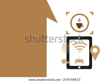 Technology placeholder with themes about handheld device features Set 6. Wifi at Cafe Theme. Editable EPS10 Vector  and jpg Illustration ideal as advertising and promotional template.  - stock vector