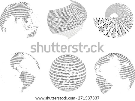 Technology planet. Binary code background . Abstract World Globe . Vector illustration. - stock vector