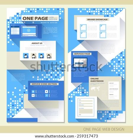 technology style one page website design template in blue - stock vector