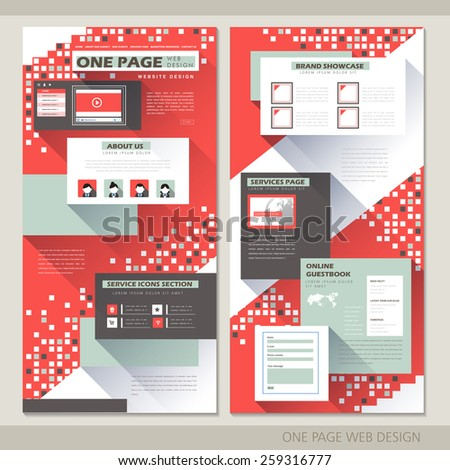technology style one page website design template in red - stock vector