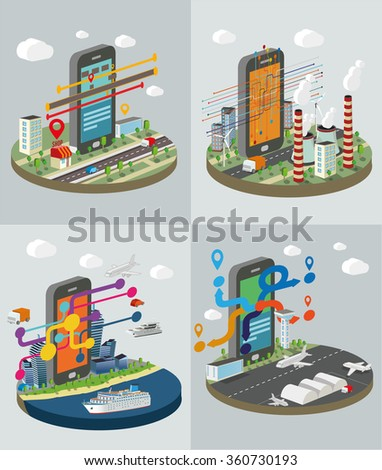 Technology Symbols with smart phones. Set of concept vector illustration.. - stock vector