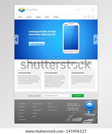 Technology System Website Template Design Smartphone Application Web Elements. Vector EPS10 - stock vector
