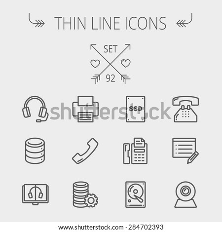 Technology thin line icon set for web and mobile. Set includes - headphones, server, printer, fax machine, telephone receiver, SSD, web cam, hard disk. Modern minimalistic flat design. Vector dark - stock vector