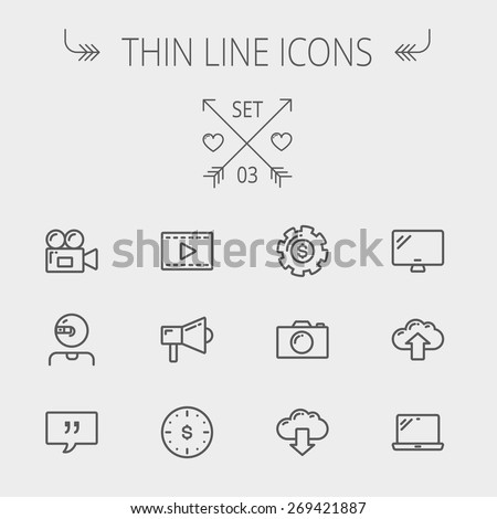 Technology thin line icon set for web and mobile. Set includes - laptop, monitor,video camera, megaphone, web camera, gear, camera, clouds up and down. Modern minimalistic flat design. Vector dark - stock vector