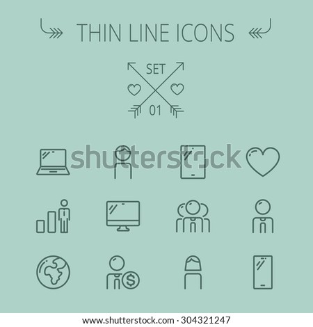 Technology thin line icon set for web and mobile. Set includes - laptop, monitor,video global, smartphone, heart. Modern minimalistic flat design. Vector dark grey icon on grey background - stock vector